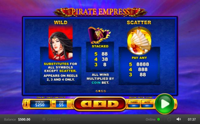 Pirate Empress :: Wild and Scatter Symbol Rules