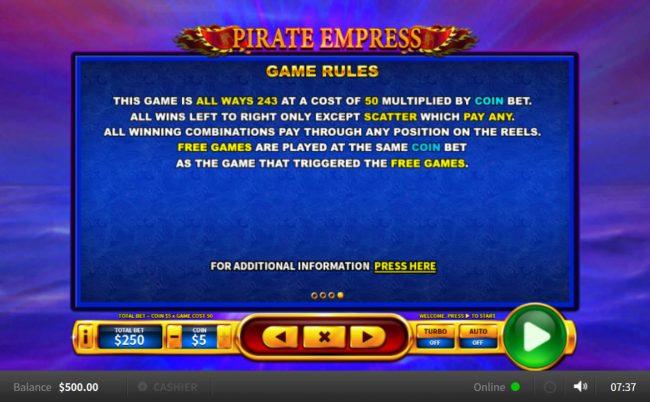 Pirate Empress :: General Game Rules