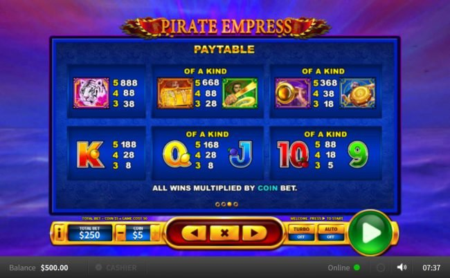 Pirate Empress :: Paytable
