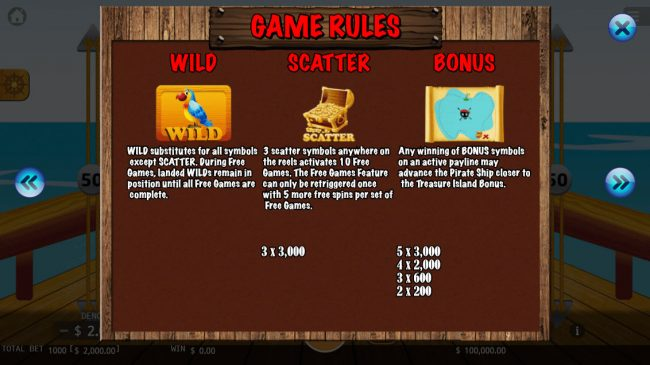 Pirate King :: Wild and Scatter Symbol Rules