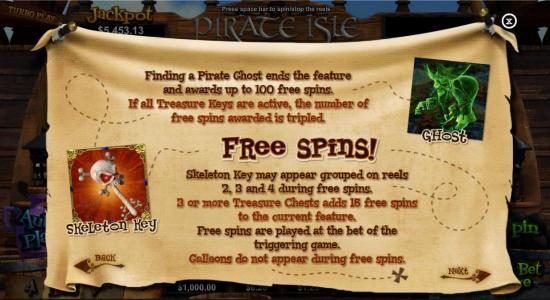 Vegas Spins featuring the Video Slots Pirate Isle with a maximum payout of Jackpot