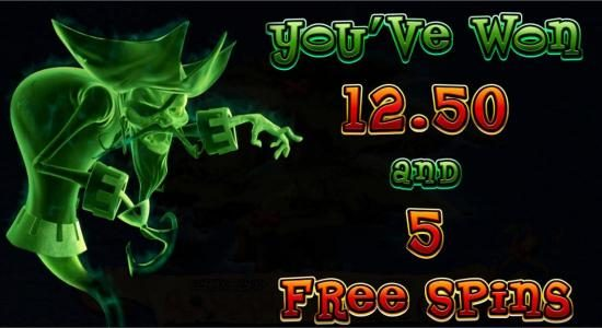 Five free spins awarded.