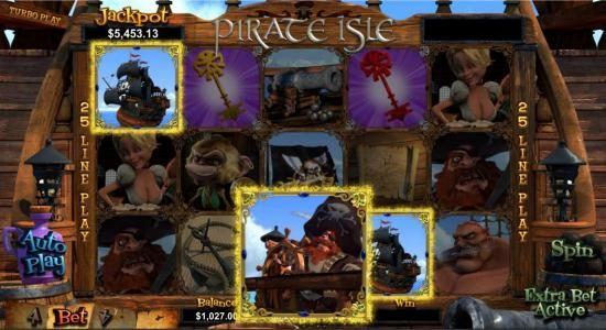 Slots of Vegas featuring the Video Slots Pirate Isle with a maximum payout of Jackpot