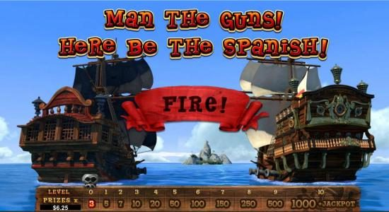 Click on fire to begin the bonus round. Sink opposing ships to move up the prize ladder.