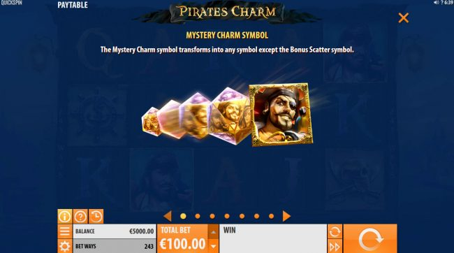 Energy featuring the Video Slots Pirates Charm with a maximum payout of $121,500