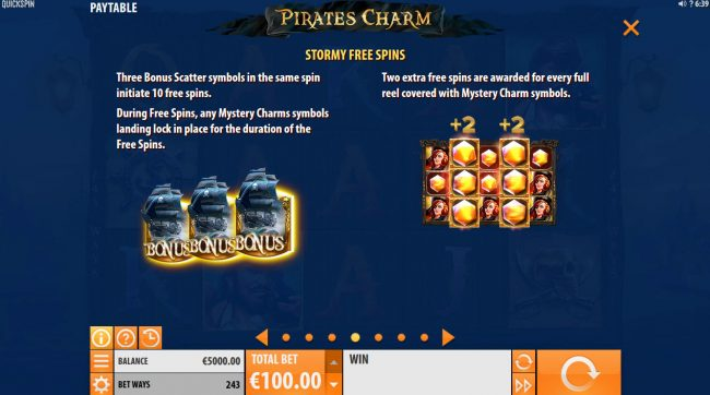 Tivoli featuring the Video Slots Pirates Charm with a maximum payout of $121,500