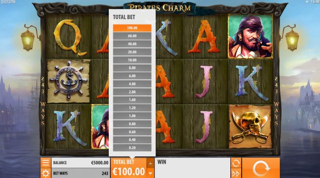 7 Gods Casino featuring the Video Slots Pirates Charm with a maximum payout of $121,500
