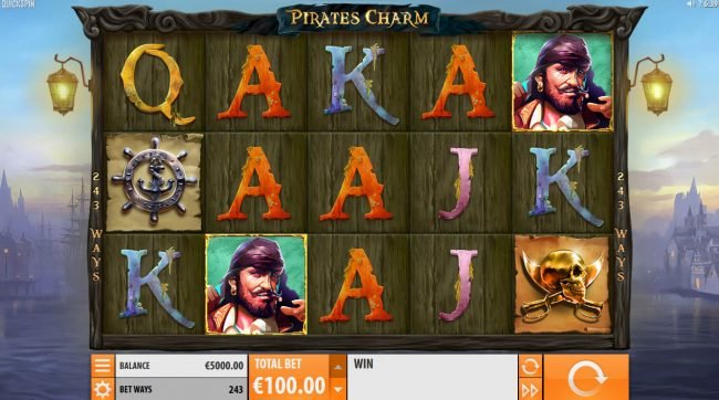 Sin Spins featuring the Video Slots Pirates Charm with a maximum payout of $121,500