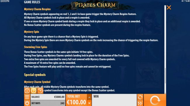 Play slots at Club Vulkan: Club Vulkan featuring the Video Slots Pirates Charm with a maximum payout of $121,500