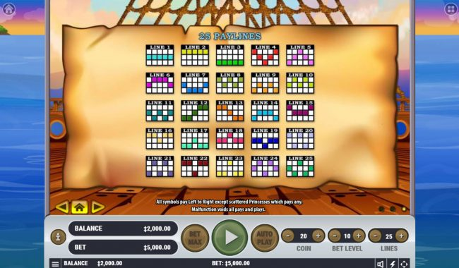 Casino Moons featuring the Video Slots Pirate's Plunder with a maximum payout of $2,500,000