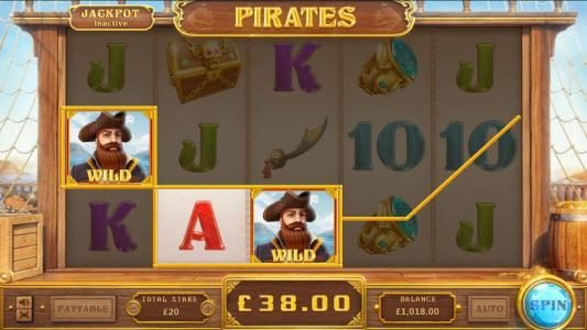 Pirates :: a pair of random wilds triggers a three of a kind