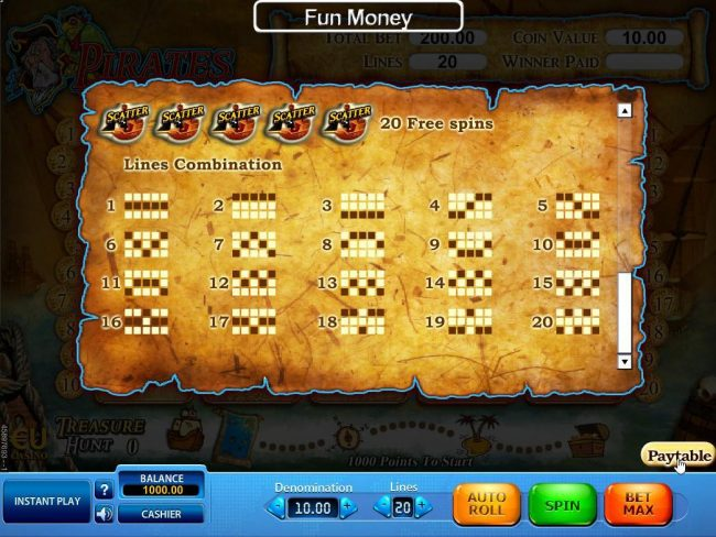 Mega Casino featuring the Video Slots Pirates Treasure Hunt with a maximum payout of $50,000