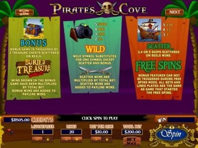 Buried Treasure Bonus Game is triggered by 3 bonus Treasure Chest symbols scattered on reels. Wild symbol substitutes for one symbol except scatter and bonus. Scatter, 3, 4 or 5 Ship symbols scattered on reels wins Free Spins.