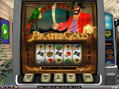 Free Spins featuring the Video Slots Pirate's Gold with a maximum payout of $10,000