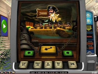 2000 coin jackpot awarded during bonus feature
