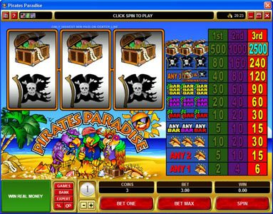 Play slots at First Web: First Web featuring the Video Slots Pirates Paradise with a maximum payout of $37,500