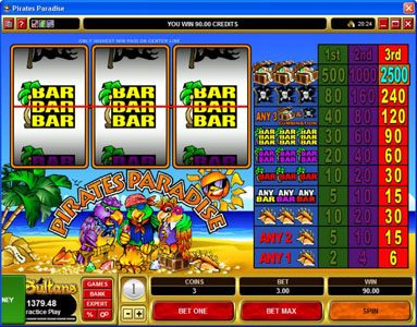 Lucky Emperor featuring the Video Slots Pirates Paradise with a maximum payout of $37,500