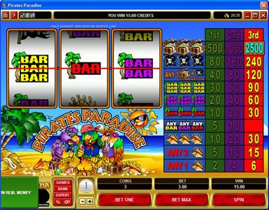 Jackpot Knights featuring the Video Slots Pirates Paradise with a maximum payout of $37,500
