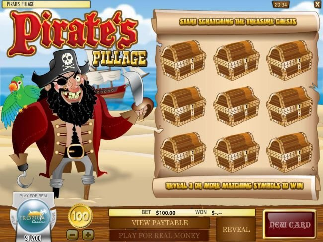Mayan Fortune featuring the Video Slots Pirate's Pillage with a maximum payout of $5,000