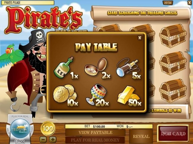 Grand Bay featuring the Video Slots Pirate's Pillage with a maximum payout of $5,000