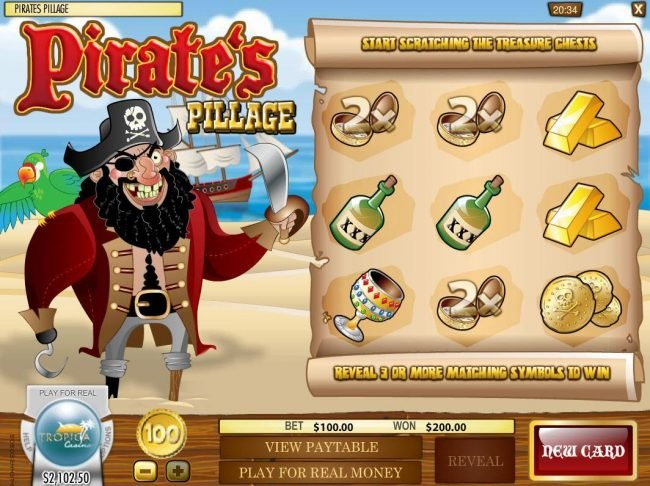Bodog featuring the Video Slots Pirate's Pillage with a maximum payout of $5,000