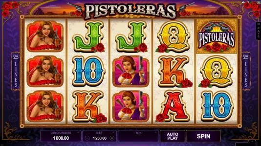 Play slots at Fun Casino: Fun Casino featuring the Video Slots Pistoleras with a maximum payout of $550,000