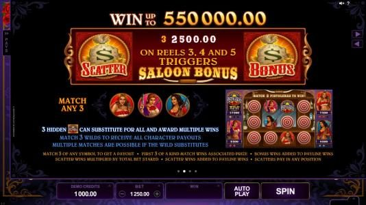 Party Casino featuring the Video Slots Pistoleras with a maximum payout of $550,000