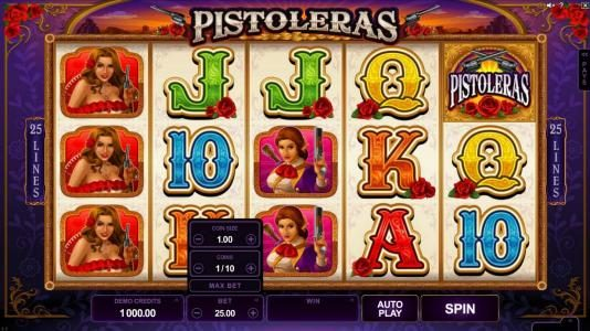 Next Casino featuring the Video Slots Pistoleras with a maximum payout of $550,000