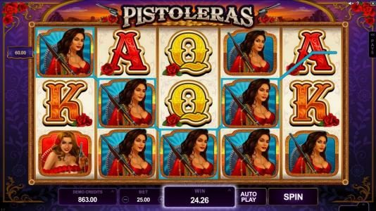 Egypt Slots featuring the Video Slots Pistoleras with a maximum payout of $550,000