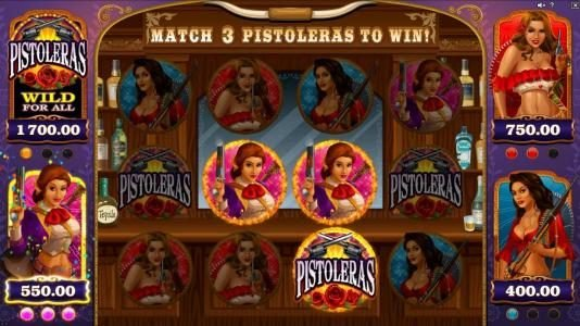 Grand Mondial featuring the Video Slots Pistoleras with a maximum payout of $550,000