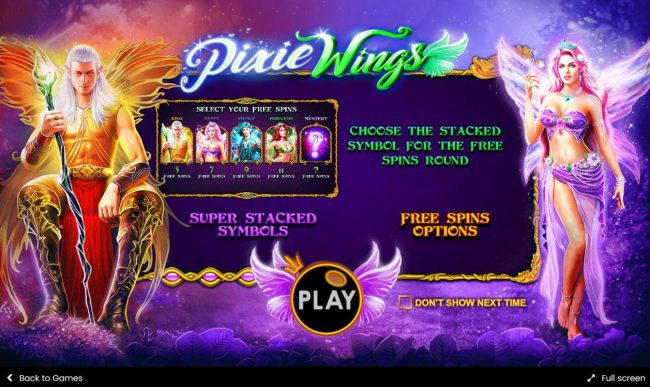 Casino States featuring the Video Slots Pixie Wings with a maximum payout of $125,000