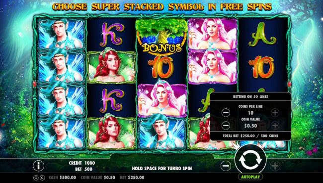 Pixie Wings :: Click on the plus or minus buttons next to the play button to adjust the coin value and/or bet per line level.
