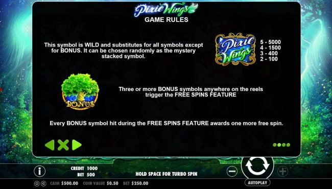 Win Paradise featuring the Video Slots Pixie Wings with a maximum payout of $125,000