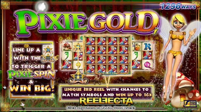 Vegas Spins featuring the Video Slots Pixie Gold with a maximum payout of $25,000