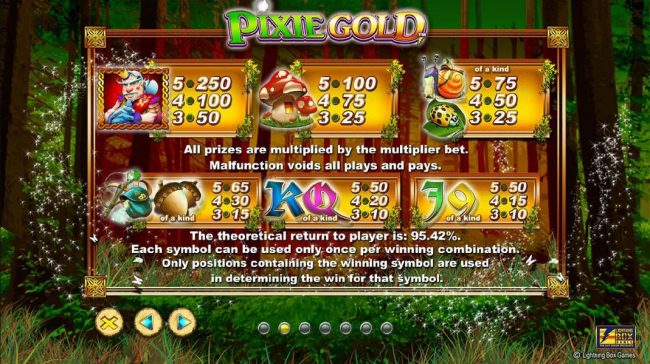 Rose Slots featuring the Video Slots Pixie Gold with a maximum payout of $25,000