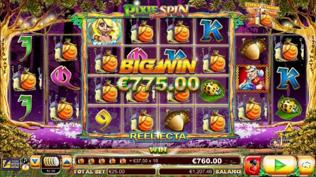 Fika Casino featuring the Video Slots Pixie Gold with a maximum payout of $25,000