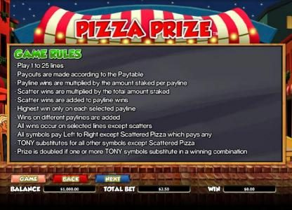 TS featuring the Video Slots Pizza Prize with a maximum payout of $20,000