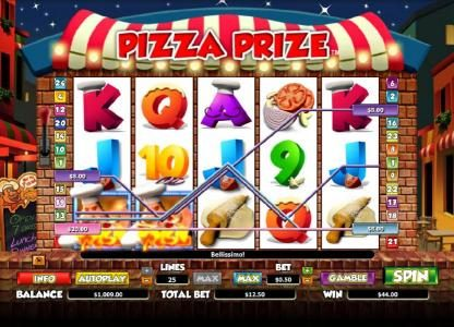 Ocean Bets featuring the Video Slots Pizza Prize with a maximum payout of $20,000