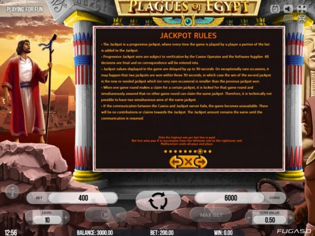 Split Aces featuring the Video Slots Plagues of Egypt with a maximum payout of $200,000