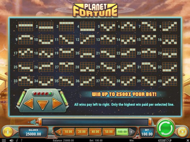 Play Club Casino featuring the Video Slots Planet Fortune with a maximum payout of $250,000