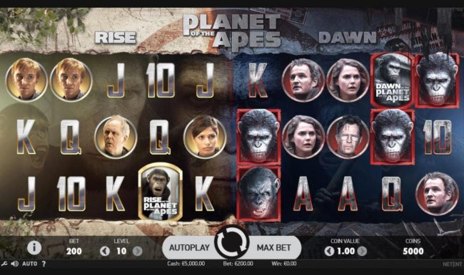 Jackpot Mobile featuring the Video Slots Planet of the Apes with a maximum payout of $600,000