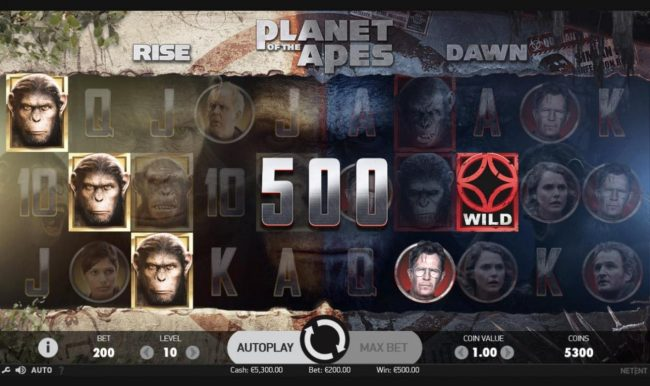 Winward featuring the Video Slots Planet of the Apes with a maximum payout of $600,000