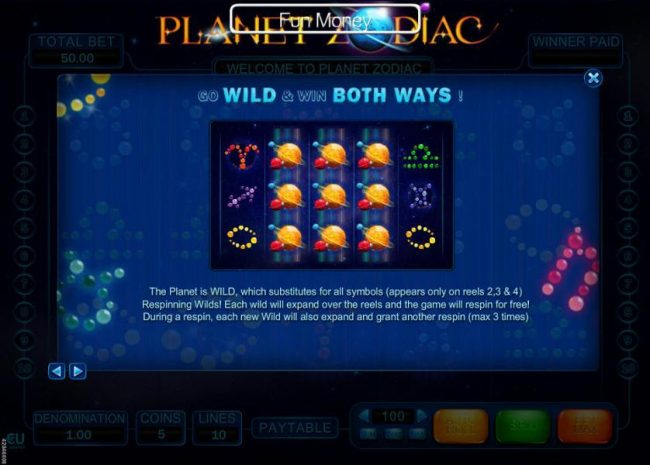 Win 7 featuring the Video Slots Planet Zodiac with a maximum payout of $5,000