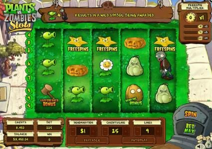 Plants vs. Zombies :: Main game board featuring five reels and 9 paylines with a $12,500 max payout