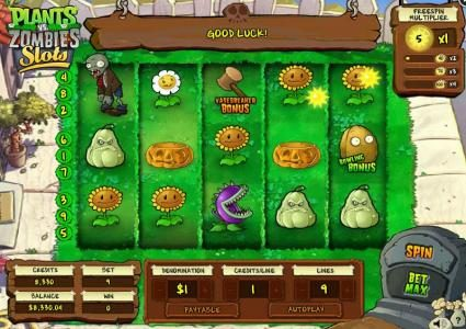 Plants vs. Zombies :: Collect sunflowers to increase the free spin multiplier