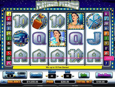 Ocean Bets featuring the video-Slots Platinum Pyramid with a maximum payout of $70,000