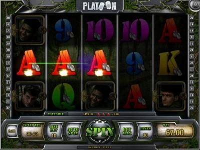 Wild Jackpots featuring the Video Slots Platoon with a maximum payout of $1,000