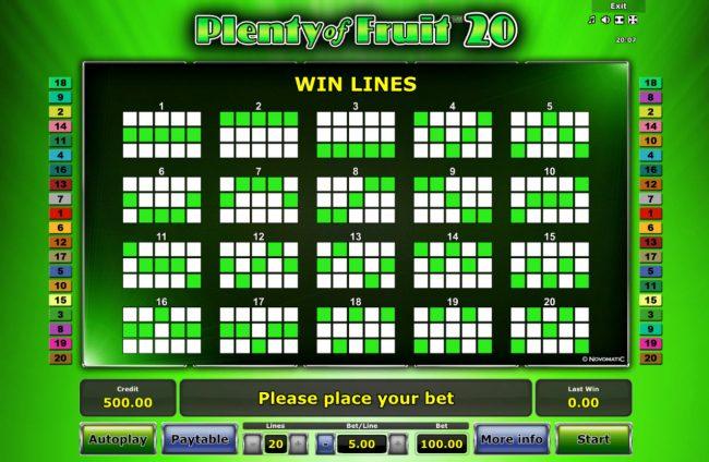 Plenty of Fruit 20 :: Paylines 1-20