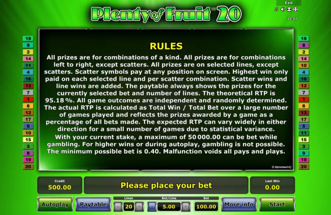 Plenty of Fruit 20 :: General Game Rules