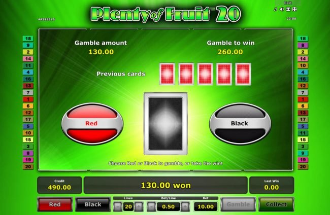 Plenty of Fruit 20 :: Red or Black Gamble feature